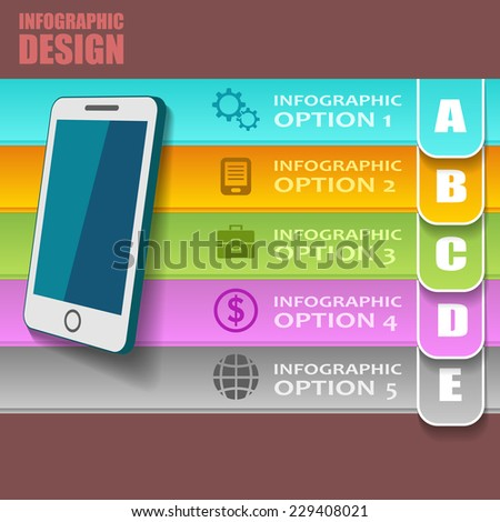 Flat vector infographic design with mobile phone and different business icons and text slogans