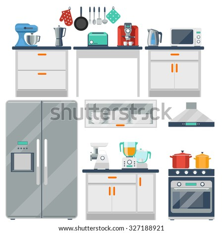 Flat vector kitchen with cooking tools, equipment and furniture. Refrigerator and microwave, toaster and cooker, blender and grinder illustration - stock vector