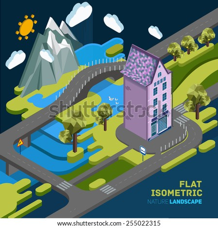 Flat vector landscape isometric concept nature with mountains, building, bridge and river. Pictured 3d isometric concept. - stock vector