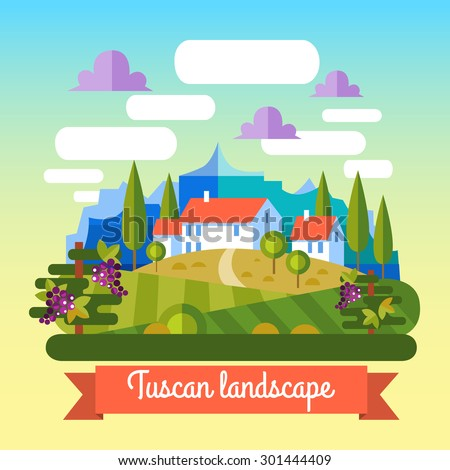 Flat vector landscape Tuscany and wine elements. - stock vector