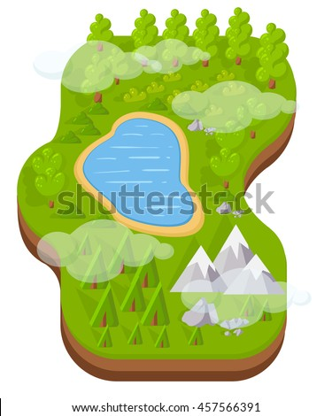 Flat vector landscape with a picture of the nature infographics landscape Earth slice