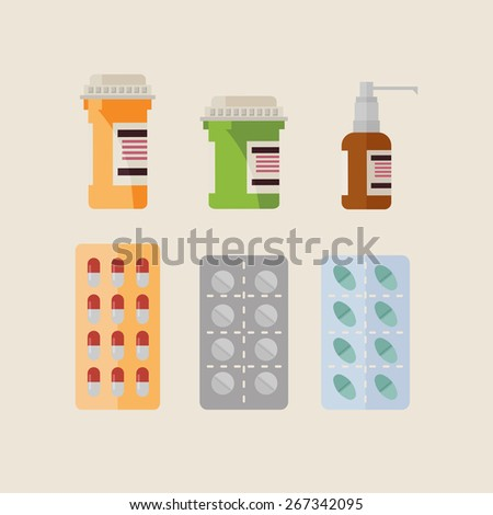 Flat Vector Medical Bottles and Pills - stock vector