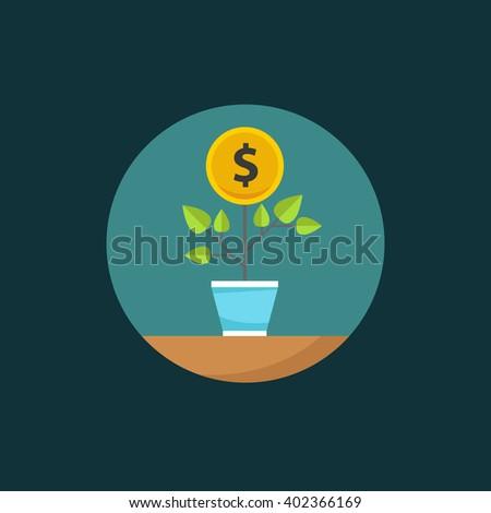 Flat vector money tree illustration. money tree flat vector icon. money tree icon eps. money tree icon jpg. money tree sign. money tree art. - stock vector