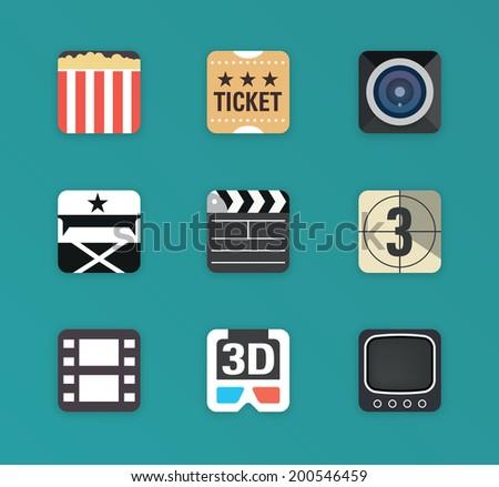 Flat vector movie icon set - stock vector