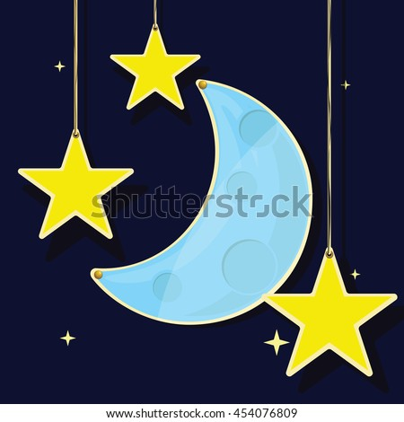 Flat vector of the moon and stars on a dark blue background.