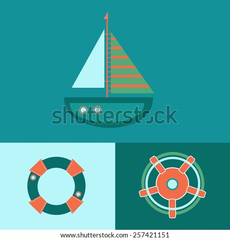 flat vector of the ship, lifebuoy and helm - stock vector