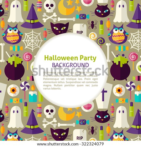 Flat Vector Pattern Halloween Party Background. Illustration for Halloween Holiday Promotion Template. Colorful Trick or Treat Objects for Advertising. Corporate Identity with Text - stock vector