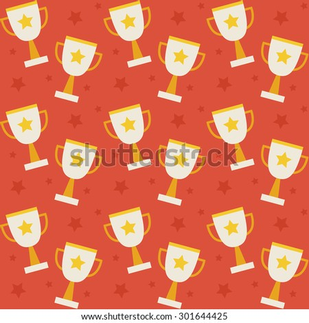 Flat Vector Seamless Pattern Sport Competition Trophy Winning. Flat Style Texture Background. Sports and Recreation. First Place. Award with Star. Cup with Gold Star - stock vector