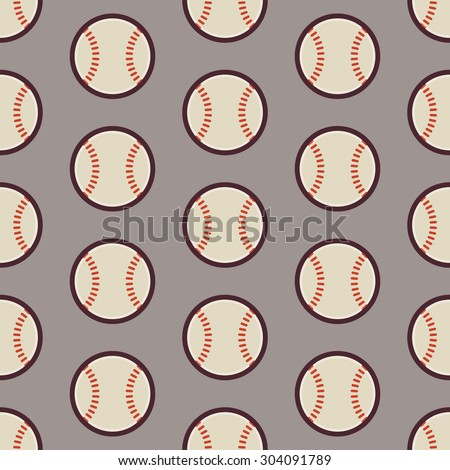 Flat Vector Seamless Sport and Recreation Activity Baseball Pattern. Flat Style Seamless Texture Background. Sports and Playing Game Template. Healthy Lifestyle. Ball and Physical Education - stock vector
