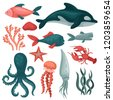 flat vector set of sea animals...