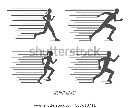 Flat vector silhouettes of runners. Vector running symbol and logo. - stock vector