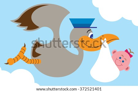 Flat vector stork carrying baby girl to her new home - stock vector
