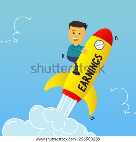 Flat vector style illustration of Businessman happy riding on a rockets of earnings - stock vector