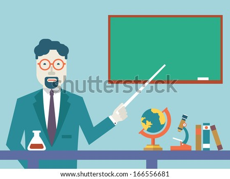 Flat vector teacher and study schools objects for study. Flat design style - vector illustration - stock vector