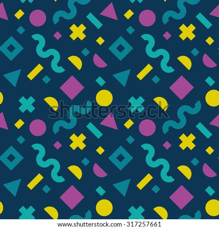 Flat vector texture of geometric colorful shapes. Geometric figures patter in modern hipster style. Nice abstract background with geometrical figures in neon colors. - stock vector