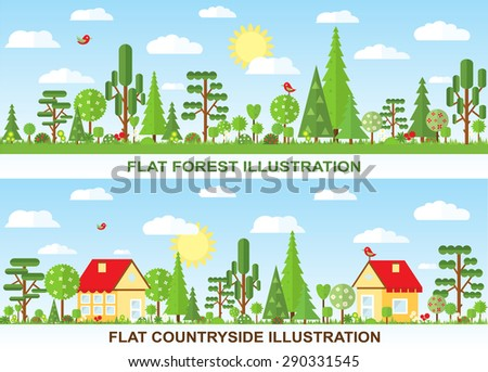 Flat vector tree and house illustration, countryside, spring, summer