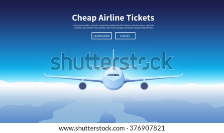 Flat vector web banner on the theme of travel by airplane, vacation, adventure. Flight in the stratosphere. Transport, transportation. Modern flat design. - stock vector