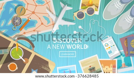 Flat vector web banner on the theme of travel , vacation, adventure. Preparing for your journey. Outfit of modern traveler. Objects on wooden background. Top view. Discover a new world. #1 - stock vector