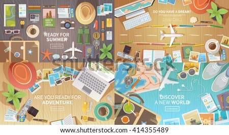 Flat vector web banners set on the theme of travel , vacation, adventure. Preparing for your journey. Outfit of modern traveler. Objects on wooden background. Top view. Ready for Summer. #1 - stock vector