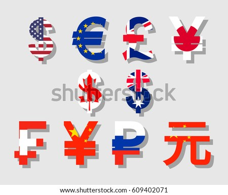 Flat Vector Flag Shadow Currency Symbols Stock Photo Photo Vector