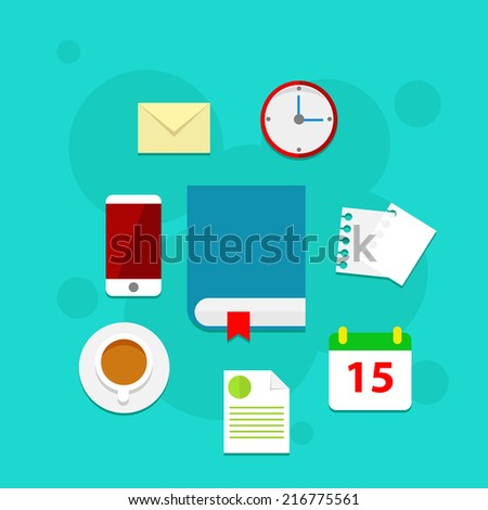 Flat vector workplace illustration with book, business icons and elements on blue background - stock vector