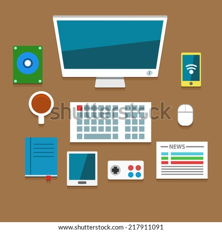 Flat vector workplace illustration with different business icons and elements - stock vector