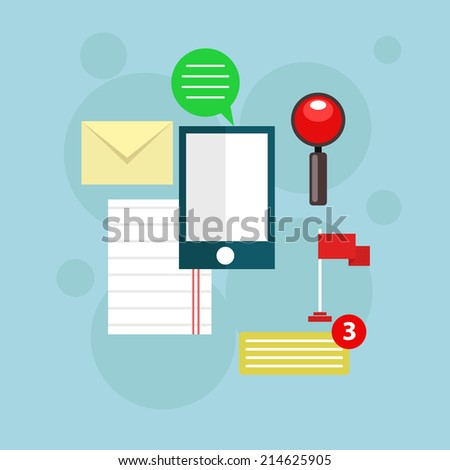 Flat vector workplace illustration with different business icons and elements on blue background - stock vector