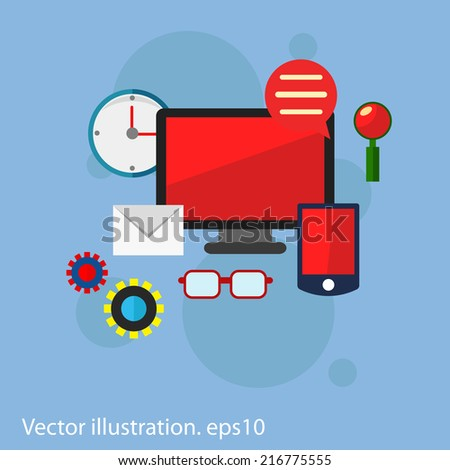 Flat vector workplace illustration with monitor and different business icons, elements on blue background - stock vector