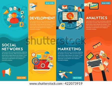 Flat vertical vector concept banners. Digital Marketing Concept - social marketing and networking, development and coding, digital and email marketing, analytics and SEO - stock vector
