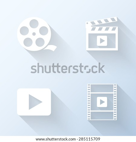Flat video icons with long shadows. Vector illustration - stock vector