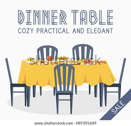 family dinner table clipart. flat vintage dinner table with many food background vector illustration concept family clipart