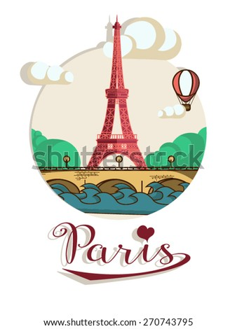 Flat vintage flier with Eiffel tower. Postcard with symbols of Paris.Brochure in vintage style. Vector design template. - stock vector