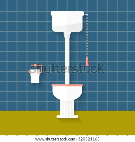 flat vintage toilet. vector illustration - stock vector
