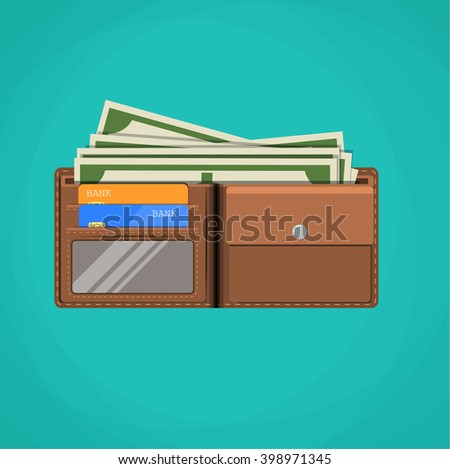 Flat wallet card and cash. Leather wallet with dollars, credit cards.  Brown wallet. Full wallet. Wallet filled up with money and plastic cards. vector illustration in flat design - stock vector