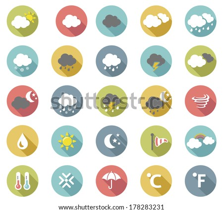 Flat  weather icon vector set.  - stock vector