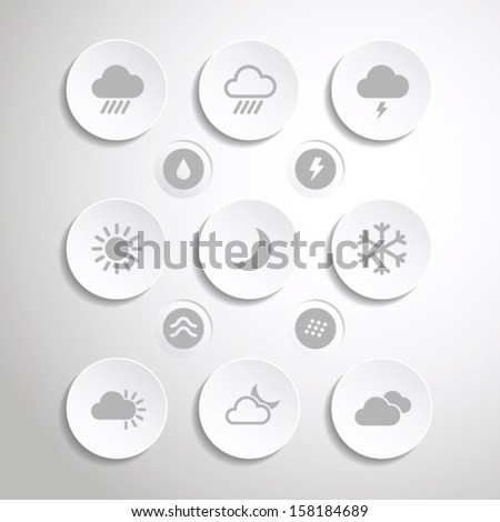 Flat weather icons set for mobile apps and web - stock vector