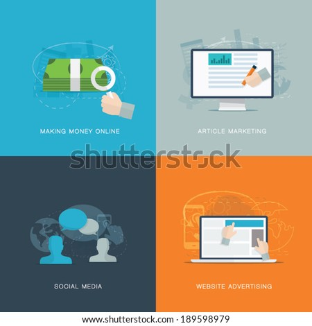 Flat web advertisiment and social media development vector concepts - stock vector