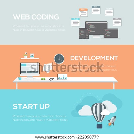 Flat web design concepts. Web coding, development and startup. Vector illustration header and hero images. - stock vector