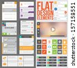 Flat Web Design elements, buttons, icons and video player. Templates for website or applications. - stock