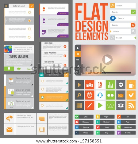 Flat Web Design elements, buttons, icons and video player. Templates for website or applications. - stock vector