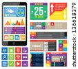 Flat Web Design, elements, buttons, icons. Templates for website. - stock