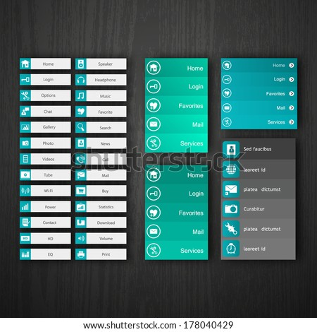 Flat Web Design elements, buttons, icons. Templates for website.  - stock vector