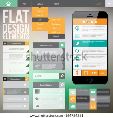 Flat Web Design elements. Templates for website or applications. - stock vector