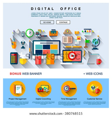 Flat web design one page template with colorful flat and line icons of digital office, project management service, business solution platform for startup. Flat design  concept, website elements layout