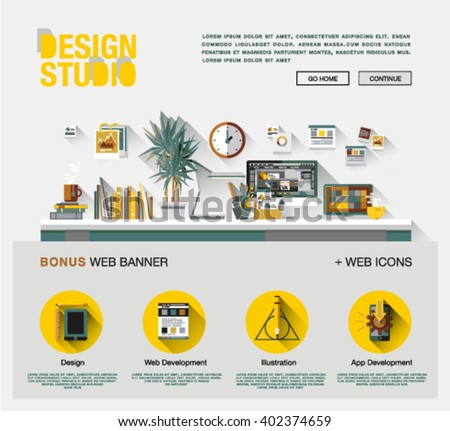 Flat web design template of one page with bright flat icons of design studio agency services. Digital graphics, web develop and apps prototyping. Flat design image concept, website elements layout