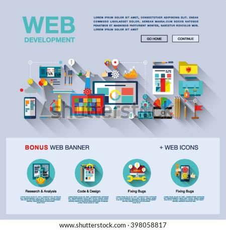 Flat Web Design Template One Page Stock-Vektorgrafik 398058817 ...