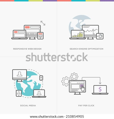 Flat web development concepts minimal vector computer line style - stock vector