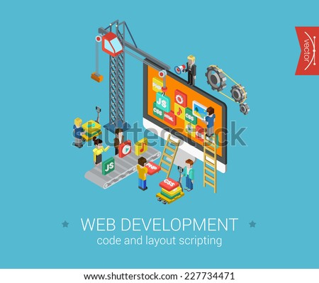 Flat web development 3d isometric modern design concept vector icons composition. Crane, desktop icons, php, html, javascript (js), css and gears. Flat web illustration infographics elements. - stock vector