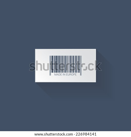 Flat web icon. Bar code, vector - stock vector