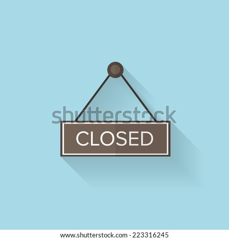 Flat web icon. Closed - stock vector